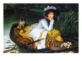 A Young Woman In a Boat Wallstickers af James Tissot