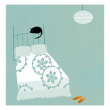 Cat on Bed Wallstickers