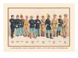 Uniforms: 4 Cavalry, 2 Engineers, 1 Hospital, 2 Staff, 2 Signal Corps, 1899 Wall Decal by Arthur Wagner