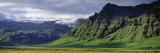 View of Farm and Cliff in the South Coast, Sheer Basalt Cliffs, South Coast, Iceland Wall Decal by  Panoramic Images