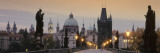 Lit Up Bridge at Dusk, Charles Bridge, Prague, Czech Republic Wallstickers af Panoramic Images
