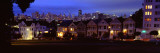 Buildings Lit Up Dusk, Alamo Square, San Francisco, California, USA Autocollant mural par Panoramic Images