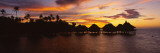 Silhouette of Stilt Houses on the Beach, Bora Bora, French Polynesia Wall Decal by  Panoramic Images