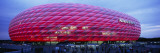 Soccer Stadium Lit Up at Dusk, Allianz Arena, Munich, Germany Wallstickers af Panoramic Images
