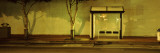 Bus Stop at Night, San Francisco, California, USA Muursticker van Panoramic Images