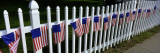 American Flags Hanging on a Picket Fence Wall Decal by  Panoramic Images