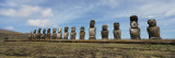 Moai Statues in a Row, Tahai Archaeological Site, Rano Raraku, Easter Island, Chile Wall Decal by  Panoramic Images