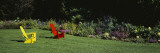 Red and Yellow Adirondack Chairs on a Lawn, Vergennes, Vermont, USA Wall Decal by  Panoramic Images