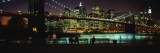 Brooklyn Bridge Lit Up at Dusk, East River, Manhattan, New York City, New York, USA Wall Decal by  Panoramic Images