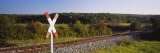 Railroad Crossing Sign near a Railway Track, Germany Wall Decal by  Panoramic Images