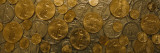 Close-Up of Assorted Gold and Silver Coins, Sacramento, California, USA Wall Decal by  Panoramic Images