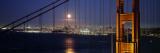 Suspension Bridge Lit Up at Night, Golden Gate Bridge, San Francisco, California, USA Wall Decal by Panoramic Images