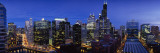 Skyscrapers in Chicago Lit Up at Night, Illinois, USA Wallstickers af Panoramic Images