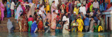 Hindu Pilgrims Bathing and Worshipping in a River, Ganges River, Varanasi, India Wall Decal by  Panoramic Images