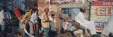 Passenger Sitting on a Rickshaw and Going to River Ganges, Varanasi, Uttar Pradesh, India Wall Decal by  Panoramic Images