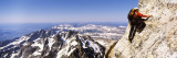 Man Climbing Up a Mountain, Grand Teton National Park, Wyoming, USA Wall Decal by  Panoramic Images