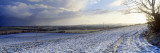 Snow Covered Road Passing Through a Landscaped, Bempton, East Riding of Yorkshire, England Wall Decal by  Panoramic Images