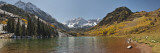 Lake in Front of Mountains, Maroon Bells, Maroon Lake, Colorado, USA Wall Decal by  Panoramic Images
