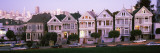 Postcard Row Houses in City, Seven Sisters, Painted Ladies, Alamo Square, San Francisco, California Wall Decal by Panoramic Images 