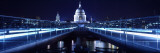 Bridge Lit Up at Night, Millennium Bridge, Thames River, St Paul's Cathedral, London, England Wall Decal by  Panoramic Images