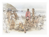 A Group of Corpsmen are Standing and Sitting around a Fire on the Beach Giclee Print by Roger Cooke