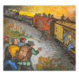 Men Jumping on a Freight Train That Is Southward Bound Giclee Print by Ronald Ginther
