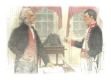 Lewis Is Receiving Instructions from Jefferson Giclee Print by Roger Cooke