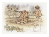 Five Corpsmen are Preparing Meat Giclee Print by Roger Cooke