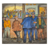 Two Police Officers Arresting Two Drunks on a Street of the Skid Road Area of Seattle Giclée-tryk af Ronald Ginther