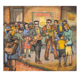 Two Blind Male Singers with Guitar and Accordian Surrounded by an Appreciative Crowd Giclée-tryk af Ronald Ginther