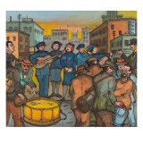 Blue-Uniformed Members of the Salvation Army Singing, Playing their Instruments and Saving Souls Giclée-tryk af Ronald Ginther