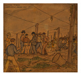 A Hop Field of Strikers and Farmers in Independence Giclée-tryk af Ronald Ginther
