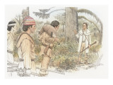 William Clark and Three Corpsmen in a Forest Giclee Print by Roger Cooke
