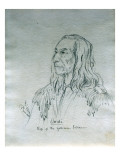Portrait of Ou-Hi Chief of the Yakima Indians Giclee Print by Gustav Sohon