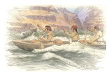 A Group of Three Corpsmen in a Canoe on the Snake River Giclee Print by Roger Cooke