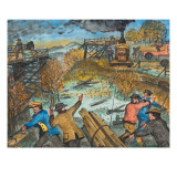 Male Members of the Unemployed Citizens League Getting Lumberfor Wood from a Condemned Bridge Giclee Print by Ronald Ginther