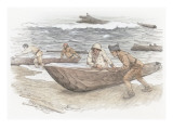 Four Corpsmen Struggling to Pull Canoes on the Shore Giclee Print by Roger Cooke
