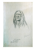 Portrait of Cut-Te-Na-Apy Old Koutaine Blackfoot Chief Giclee Print by Gustav Sohon