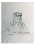 Portrait of Metad Waptass (Three Feathers) One of the Principal Chiefs of the Nez Perces Giclee Print by Gustav Sohon