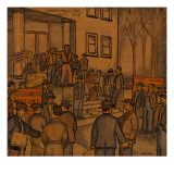 A Mass Meeting of Men, Some Holding Pickets, on Steps of the Courthouse in Klamath Falls Giclee Print by Ronald Ginther