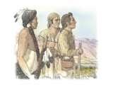Two Corpsmen and an Indian are Looking into the Distance Giclee Print by Roger Cooke