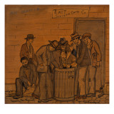 Four Unemployed Men Going Through a Garbage Can Searching for Food Giclee Print by Ronald Ginther