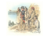 Clark with Two Indians and Two Corpsmen in Front of a Mat Lodge Giclee Print by Roger Cooke