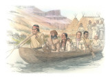 A Canoe Filled with Expedition Members Is Moving Away from an Indian Camp Giclee Print by Roger Cooke