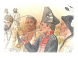 Clark Is Smoking a Pipe Tomahawk with an Indian Man on Either Side of Him and Three Corpsmen Giclee Print by Roger Cooke