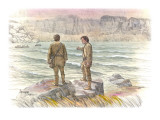 Two Corpsmen Stand on a Rocky Outcropping Looking Out over the Columbia River Giclee Print by Roger Cooke