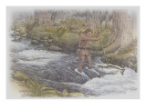William Clark Standing in a Stream, Spearing a Large Fish Giclee Print by Roger Cooke