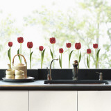 Red tulips  (Window Decal) Wall Decal