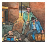 `Dehorns' Beside a Garbage Can Filled with Empty Bottles and Cans Giclee Print by Ronald Ginther