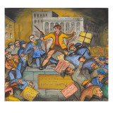 The Unemployed Battling Police Giclée-tryk af Ronald Ginther